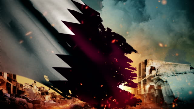 4k qatar flag - crisis / war / fire (loop) - paesi del golfo video stock e b–roll