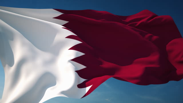 vidéos et rushes de 4 k qatar drapeau-bouclables - doha
