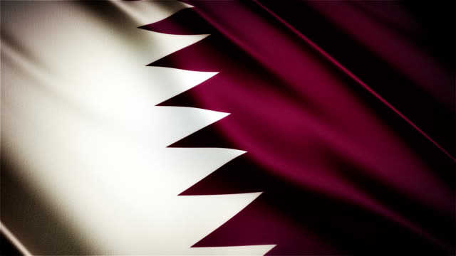 Qatar realistic national flag seamless looped waving animation video