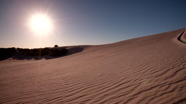 Quad biker kicking up sand while racing on sand dunes video