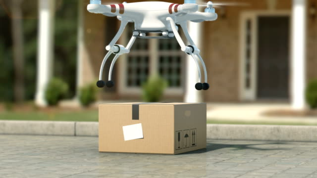 Quadcopter Picking Up a Package from the Ground. Taking off with a Parcel and Flying Away. Beautiful 3d Animation. Modern Delivery Concept. video