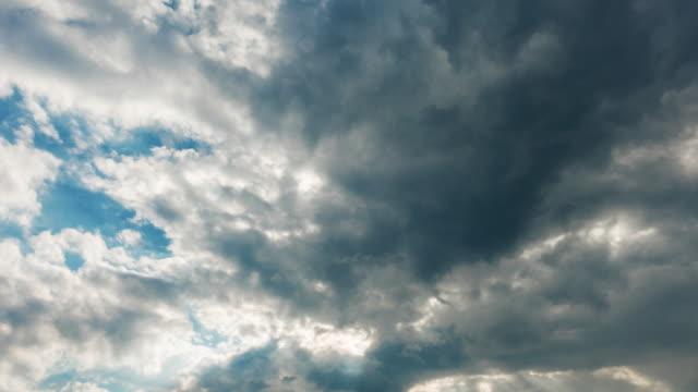 gri bulutlar mavi gökyüzü, titreme yok, kuş yok karşı uçan nitel zaman atlamalı. - kompozisyon stok videoları ve detay görüntü çekimi