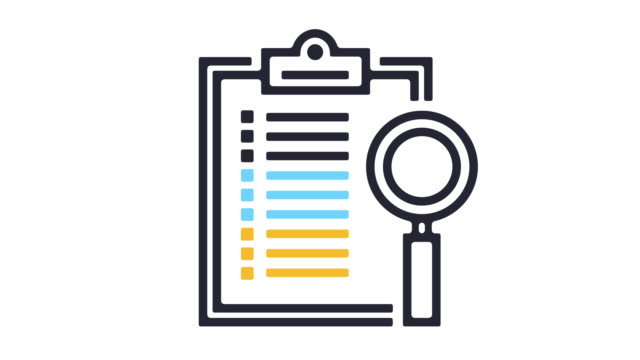 Quality Control Icon Animation Thin line animation of analyzing icon on white background. chores stock videos & royalty-free footage