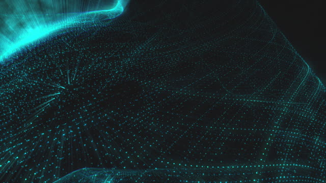 Quantum Field Collision in 4k - blue glow particle field. computer generated abstract motion background