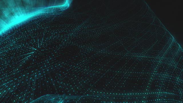 quantum field kollision i 4k-blå glöd partikel fält. datorgenererade abstrakt rörelse bakgrund - fysik bildbanksvideor och videomaterial från bakom kulisserna