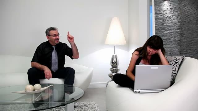 Quarrel between father and daughter Quarrel between father and daughter obedience stock videos & royalty-free footage
