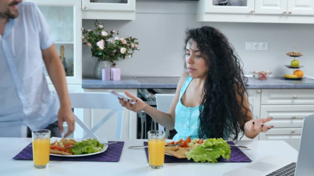 Quarrel of married couple during breakfast video