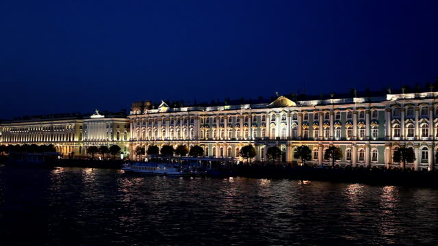 Quay and Winter Palace at white night, St. Petersburg video