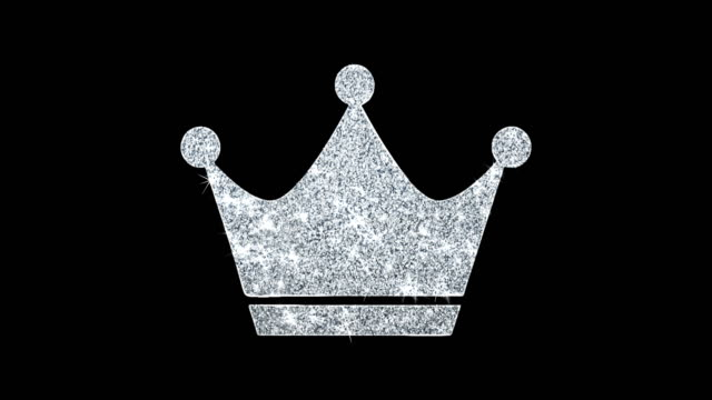 Queen Royalty Crown Icon Shining Glitter Loop Blinking Particles .