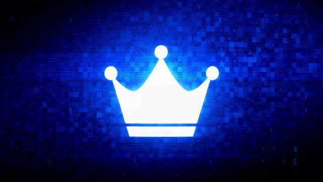 Queen Royalty Crown Symbol Digital Pixel Noise Error Animation.
