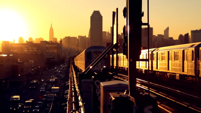 Queens 7 Train Subway at Sunset New York City video