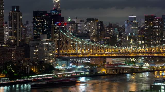 Queensboro Bridge and Manhattan, New York City Night Timelapse video
