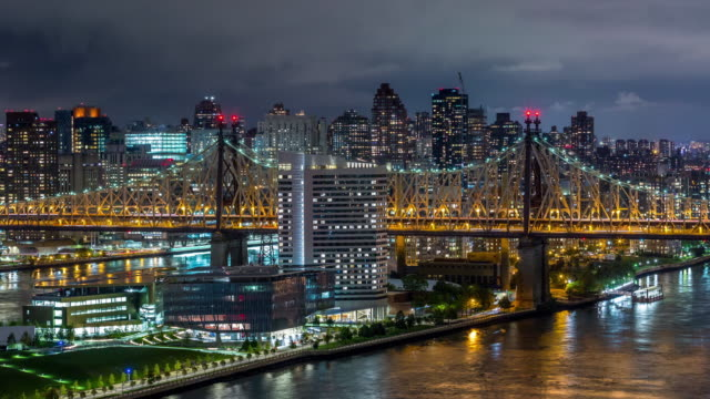 Queensboro Bridge and Roosevelt Island, New York Night Timelapse video