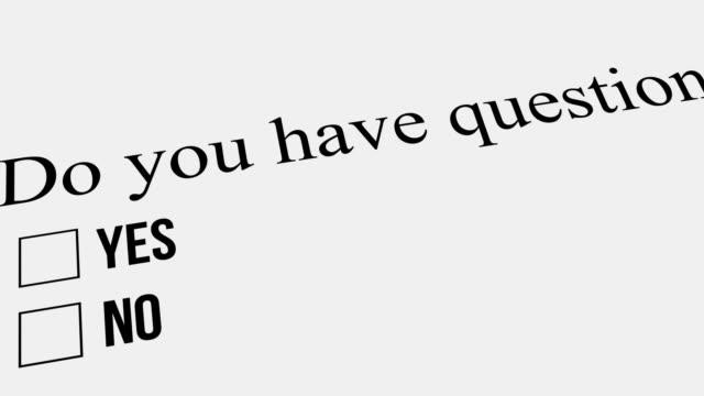 frage und antwort. haben sie fragen – nein. umfrage. - feedback stock-videos und b-roll-filmmaterial
