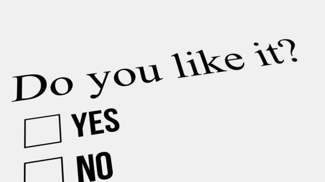 frage und antwort. mögen sie es – nein. umfrage. - feedback stock-videos und b-roll-filmmaterial