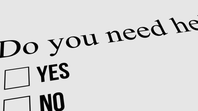 frage und antwort. brauchen sie hilfe – nein. umfrage. - feedback stock-videos und b-roll-filmmaterial