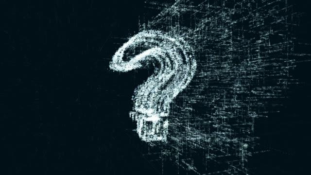vídeos de stock, filmes e b-roll de pergunta logo, um projeto que consiste de um código de números e um símbolo - perguntando