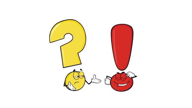 vídeos y material grabado en eventos de stock de signo de interrogación y signo de exclamación marca personajes de dibujos animados - faq