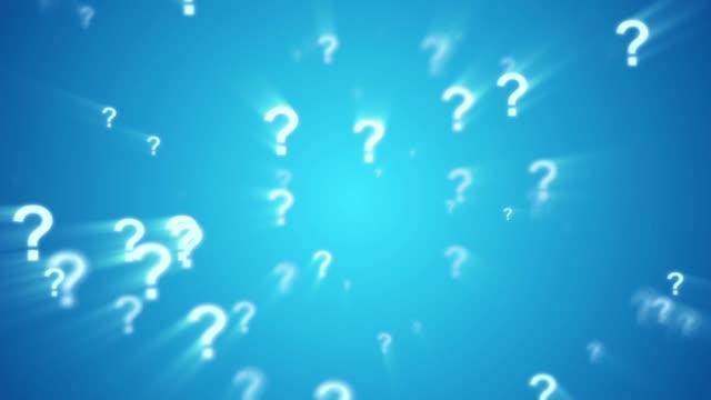 vidéos et rushes de point d'interrogation animé en boucle spin fond bleu - question