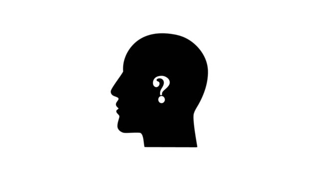 Question mark animation against head silhouette Question sign animation against head silhouette faq stock videos & royalty-free footage