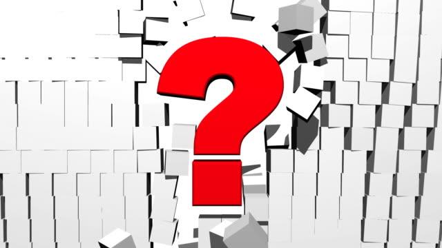 Question Mark Breaking Through Block Wall video