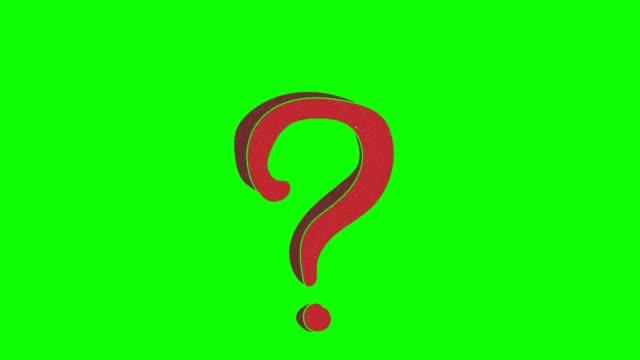 vidéos et rushes de point d'interrogation dessiné à la main écran vert. animation en boucle flottante - interrogation