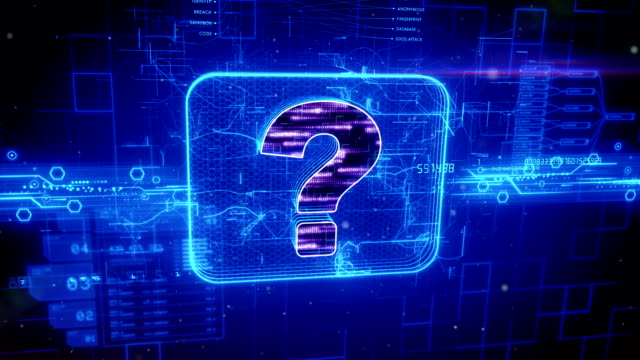 Question mark icon on abstract blue background Abstract animation of question mark icon in digital cyberspace faq stock videos & royalty-free footage