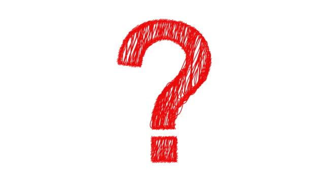 punto interrogativo scarabocchi su in rosso - question mark video stock e b–roll