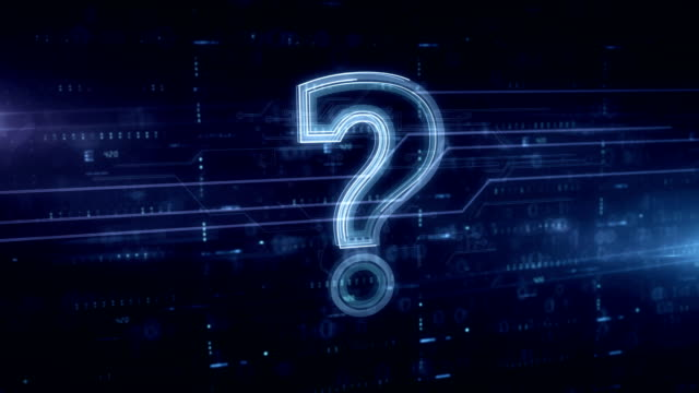 question mark symbol blue hologram - mistero video stock e b–roll