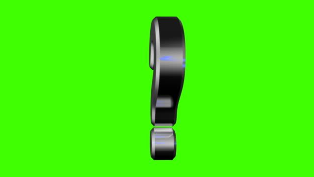 domanda di spinning metalic effetto anello schermo verde - question mark video stock e b–roll
