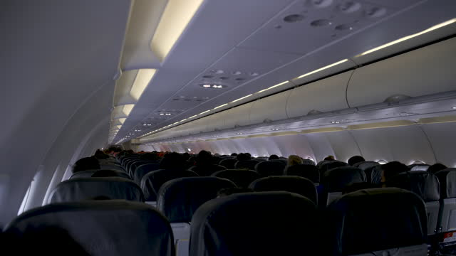 Quiet and safe cabin on the plane.