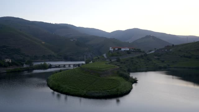 Quinta do Tedo view of s shape bend river in Douro wine region at sunset, in Portugal