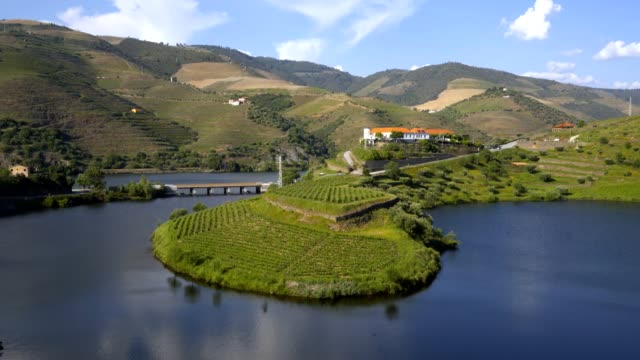 vídeos de stock e filmes b-roll de quinta do tedo view of shape bend river in douro wine region, in portugal - douro