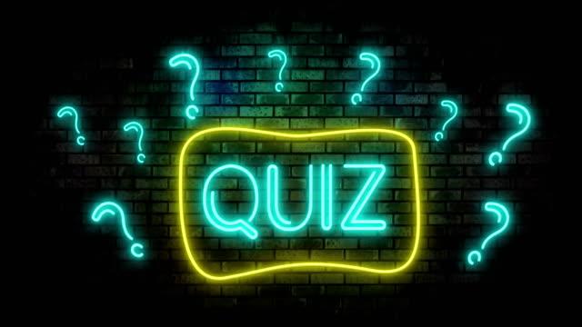 Quiz Neon Light on Brick Wall. Night Club Bar Blinking Sign Style.
