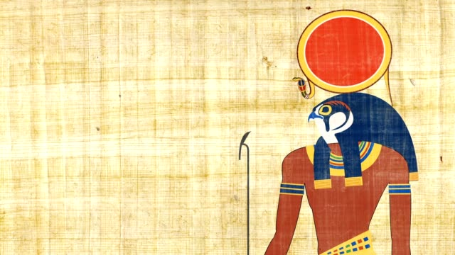Ra The Egyptian God Of Sun On A Papyrus Background video