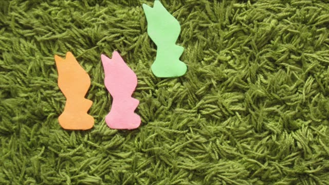 rabbit bunny or hare count learning stop motion - cinque oggetti video stock e b–roll