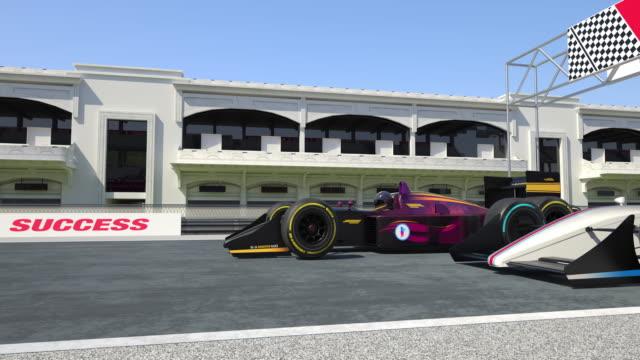 자동차 경주 결승-4k 3d 애니메이션을 건너 - 레이싱 스톡 비디오 및 b-롤 화면