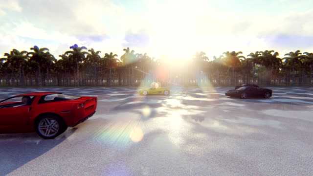 Race sports cars on a Sunny day in the tropics. Realistic 4k animation.