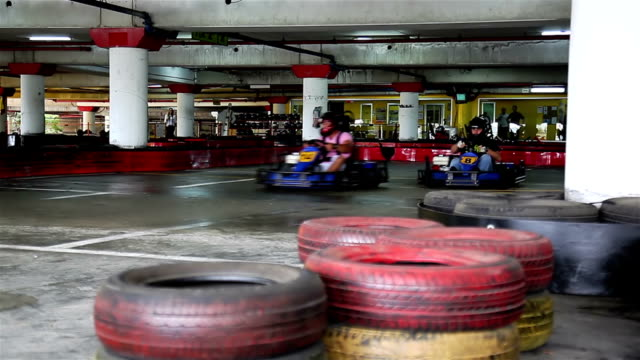 Racers on karting Racers on karting go cart stock videos & royalty-free footage