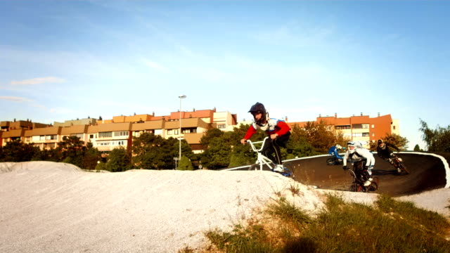 HD SLOW MOTION: Racers Racing On Bmx Track video