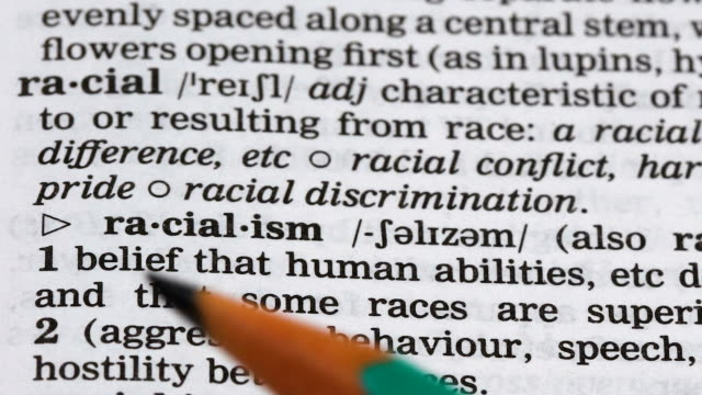 Racialism word definition in dictionary, aggressive attitude to different races