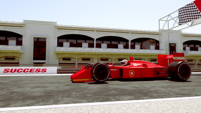자동차를 건너 경주 결승 선-4k 3d 애니메이션 - formula 1 스톡 비디오 및 b-롤 화면