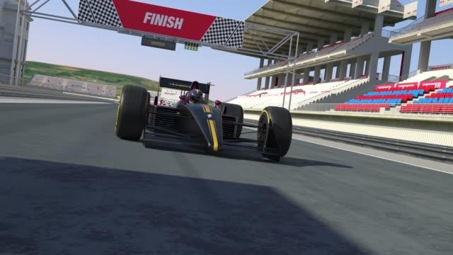 Bitiş çizgisine çapraz ve yarış - 4 K 3D animasyon kazanan araba yarışı video