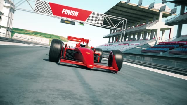 Araba kapısı bitiş çizgisine yarış ve yarış kazanan video