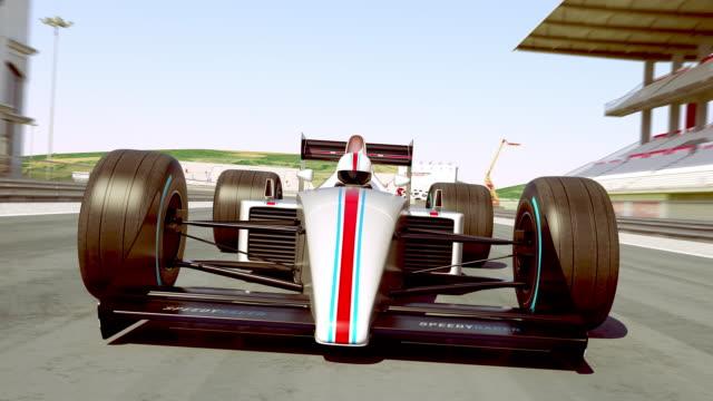 결승 선을 건너 레이싱 자동차 경주 우승 - formula 1 스톡 비디오 및 b-롤 화면