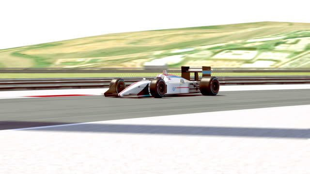 챔피언으로 결승 선을 건너 경주 자동차 - formula 1 스톡 비디오 및 b-롤 화면