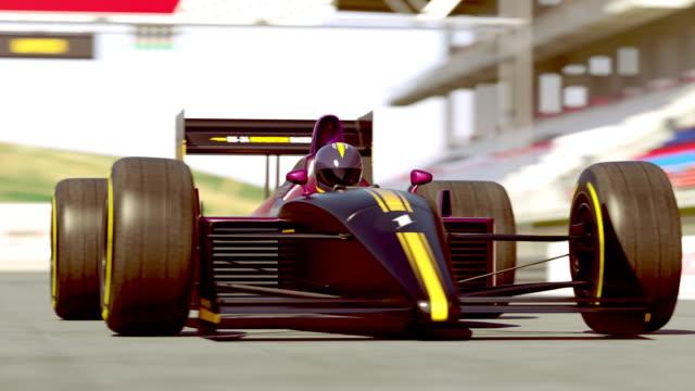 자동차 경주 시작 준비-4k 3d 애니메이션 - formula 1 스톡 비디오 및 b-롤 화면