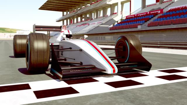 레이싱 자동차 경주 준비 하기-4k 3d 애니메이션 - formula 1 스톡 비디오 및 b-롤 화면