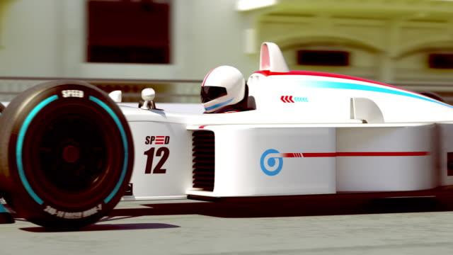 경주 자동차 경주 준비-주위에 회전 카메라 - formula 1 스톡 비디오 및 b-롤 화면