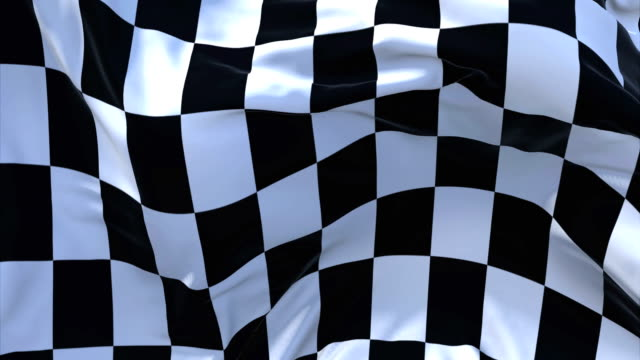 racing chequered flag flag waving in wind slow motion animation . 4k realistic fabric texture flag smooth blowing on a windy day continuous seamless loop background. - a quadri video stock e b–roll